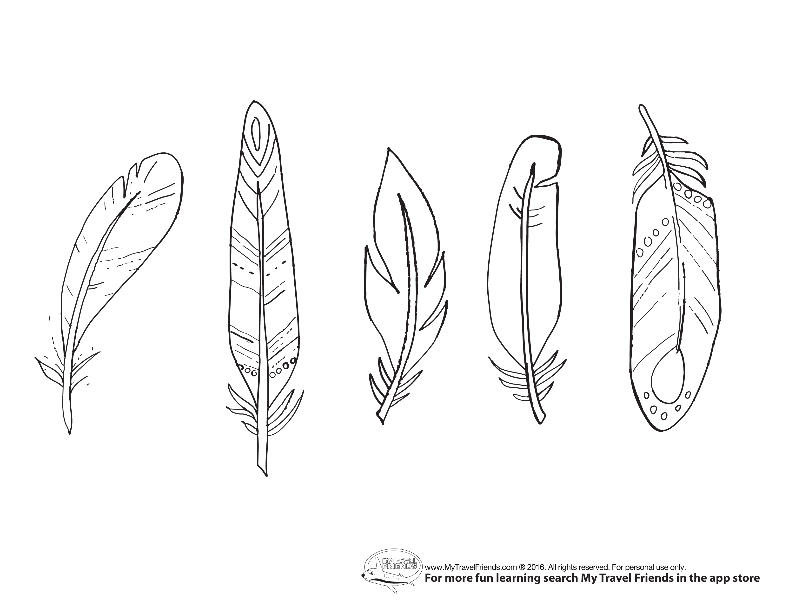 Turkey Feather Coloring Sheets